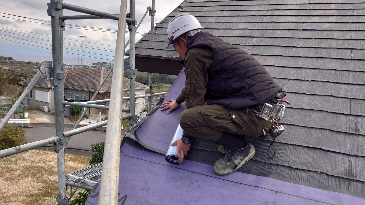 千葉県鴨川市にて続けて屋根工事(カバー工法)