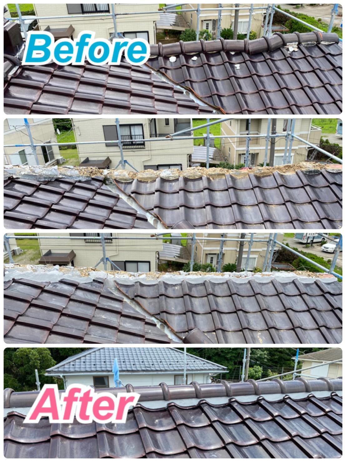 屋根:棟瓦補修工事🔧✨
