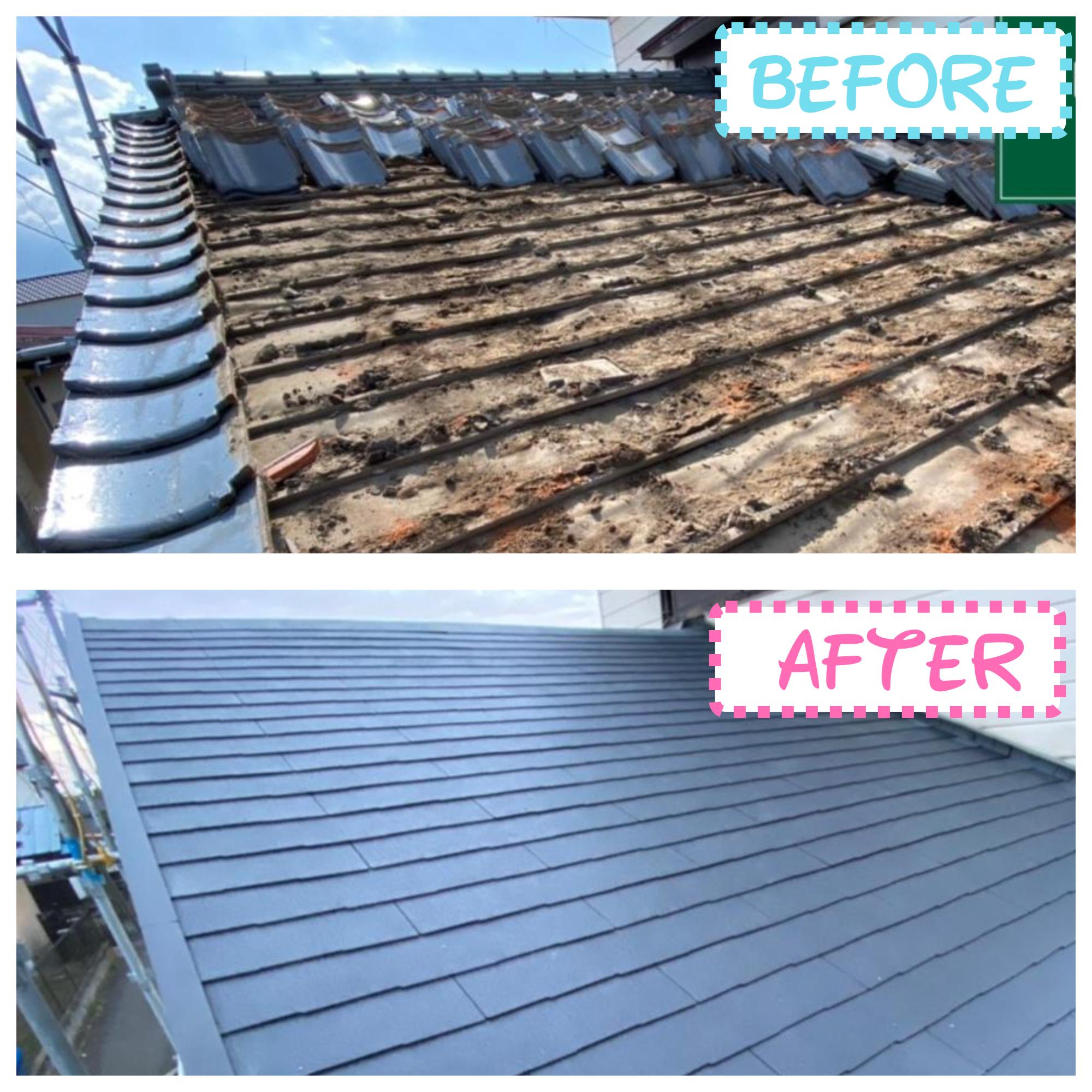 屋根葺き替え工事🏡瓦屋根からコロニアルへ:工程✨