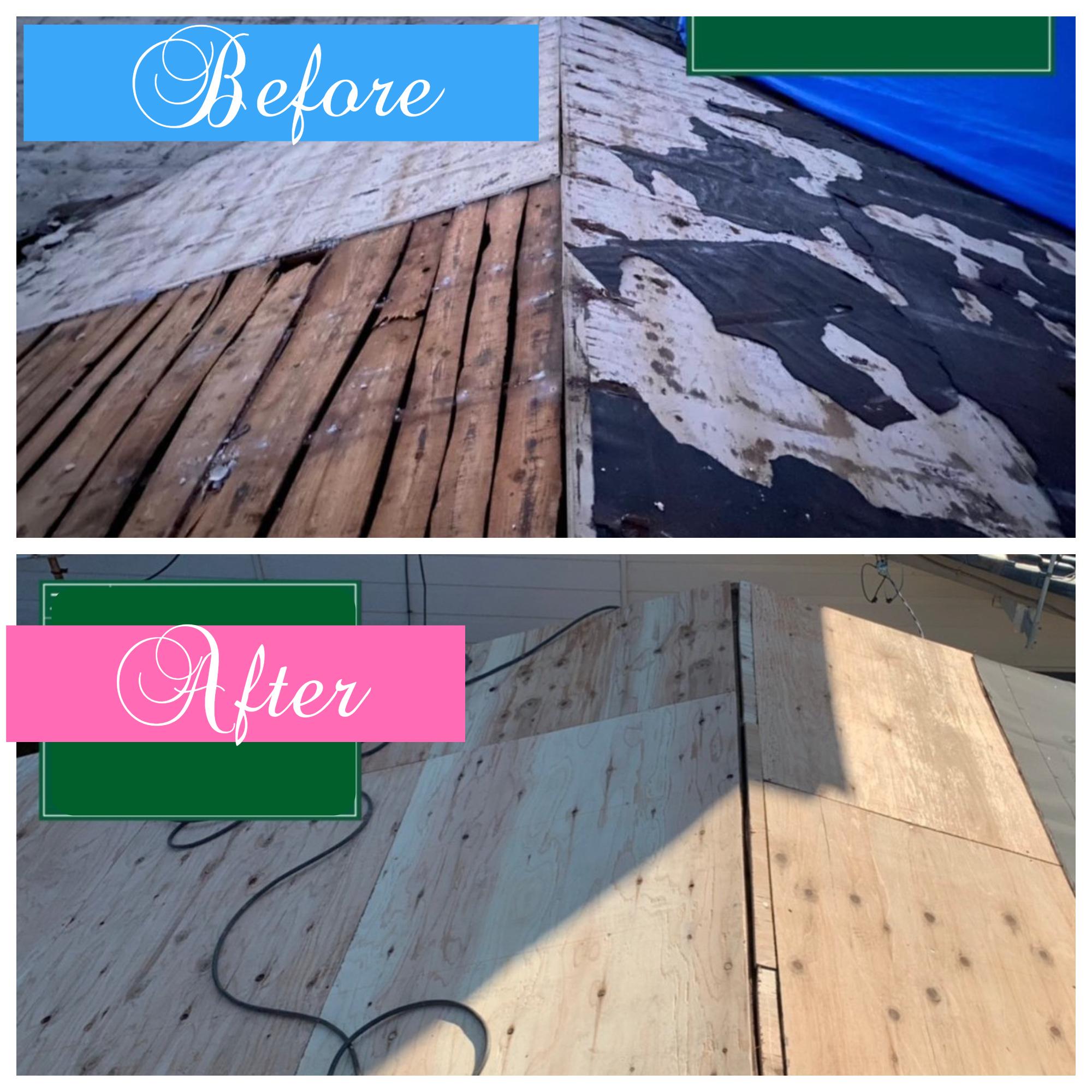屋根葺き替え工事🏡野地板増し張り💪